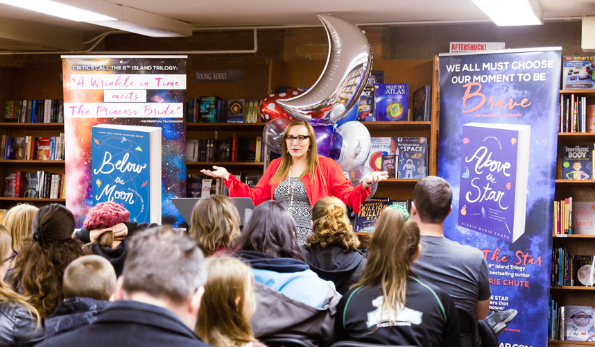 Alexis Marie Chute at a book tour stop for Below the Moon